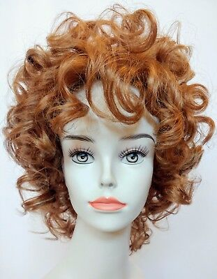 Ann Wig (Red Blonde Short Curly Wig w/Bangs, Perfect for Musical 'Annie' or 'Raggedy)