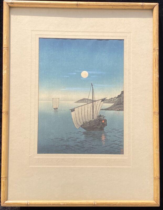 Sailboats by Moolight Arai Yoshimune Antique Japanese Woodblock Print Shin Hanga