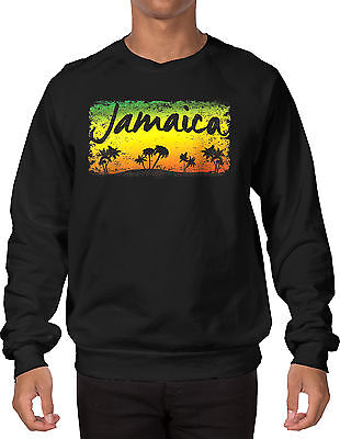 Jamaica Palm Tree Scene - Rasta, Rastafarian, Weed, Pot  Crewneck Sweatshirt - Palm Tree Scene