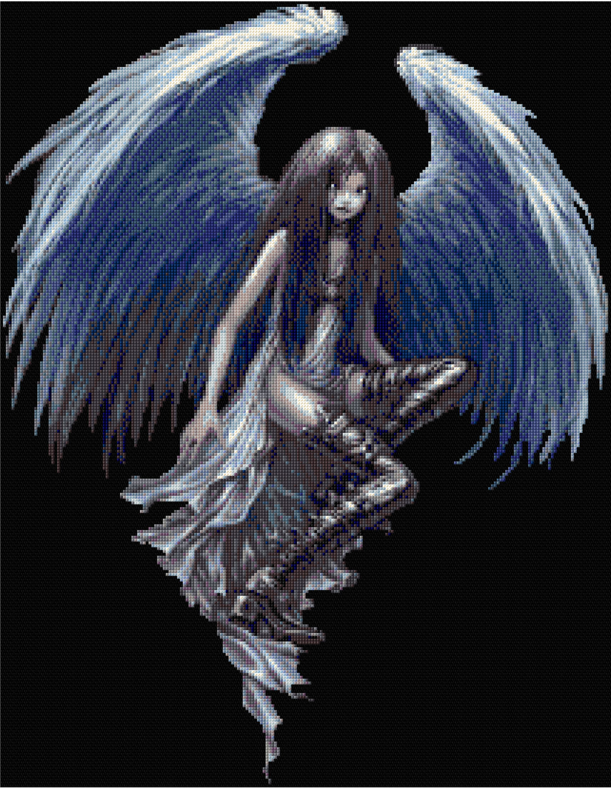 Angel Officiel Anne Stokes Counted Cross Stitch Kit-goth-Fantasy-Wolf