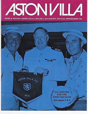 ASTON VILLA V WALSALL  FRIENDLY  9/8/75