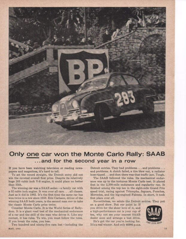1963 SAAB @ MONTE CARLO  ~  ORIGINAL PRINT AD