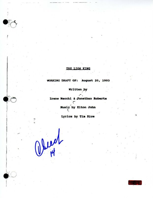 GFA The Lion King Movie * CHEECH MARIN * Signed Full Page Script AD1 COA