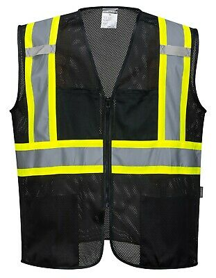 Portwest Iona Reflective Tampa Mesh Safety Vest Black Us391 Free Shipping