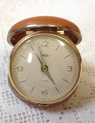 Vintage Coral Traveling Alarm Clock, Full Leather Covered Hunter Case, Working.