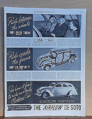 1934 magazine ad for DeSoto - Ride between wheels, inside frame, Airflow design