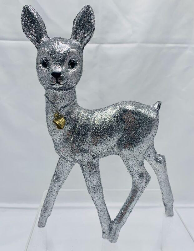Darling Christmas Deer Reindeer Silver Glittered Inscha Deko Handwerk Germany