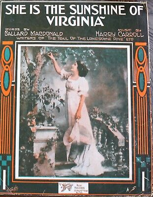 1916 SHE IS THE SUNSHINE OF VIRGINIA SHEET MUSIC - MacDonald / Carroll