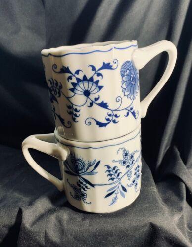 Pair Vintage Blue Danube Porcelain Coffee Mugs