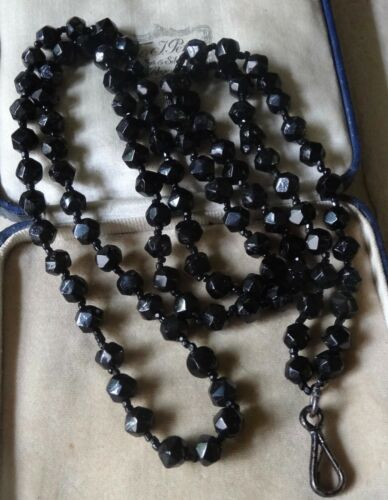 antique Victorian french jet black glass bead long guard chain necklace -R260
