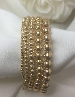 14K Gold Filled Bead Stretch Bracelet • Stackable Bracelet • Variety of Sizes