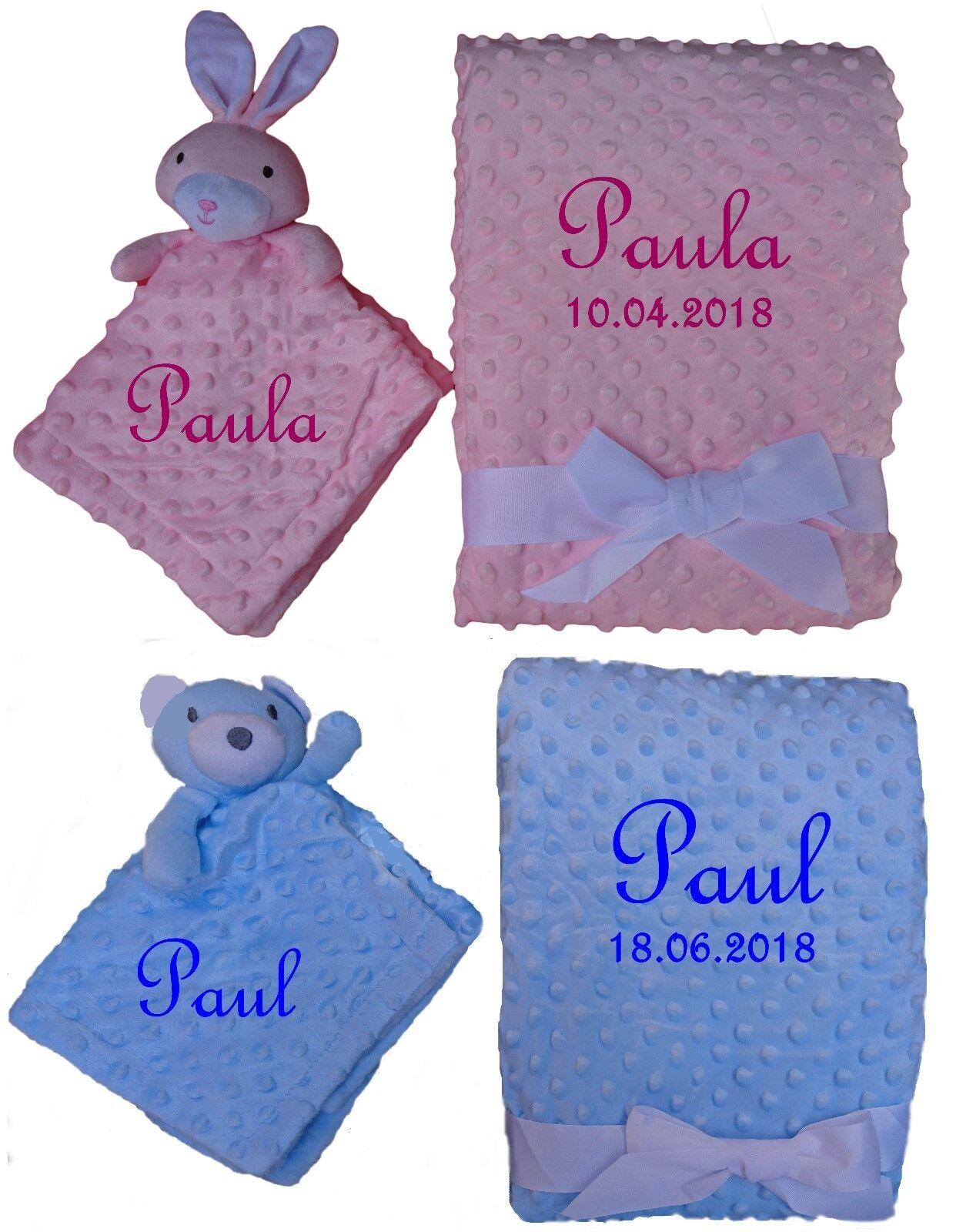 Set Babydecke & Kuscheltuch Noppen mit Namen bestickt Geschenk Baby Taufe Geburt