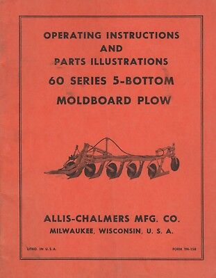 Allis-chalmers 60 Series 5-bottom Moldboard Plow Operators Parts Manual 075