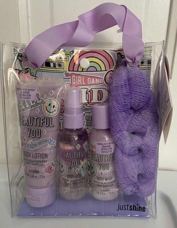Justice Girls Just Shine Beautiful You 4pc Bath Gift Set Gel Lotion Mist Loofah