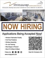 Now Hiring - Vinyl Window Assembly, Fabrication & General Labour