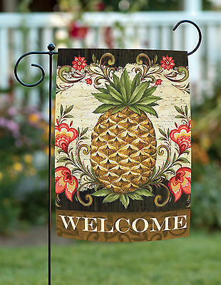 Toland Pineapple & Scrolls 12.5 x 18 Welcome Flower Double Sided Garden Flag