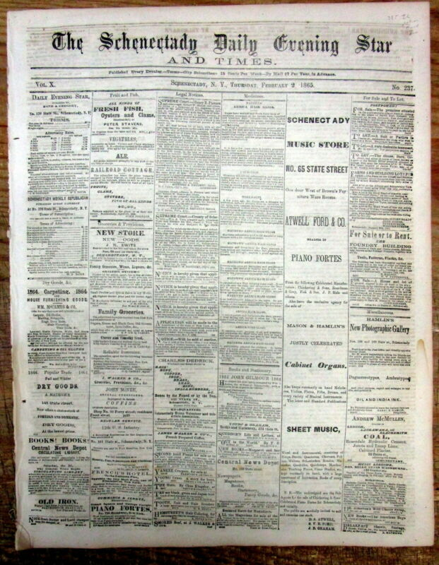 <1865 newspaper ILLINOIS RATIFIES 13th Amendment to Constitution END OF SLAVERY