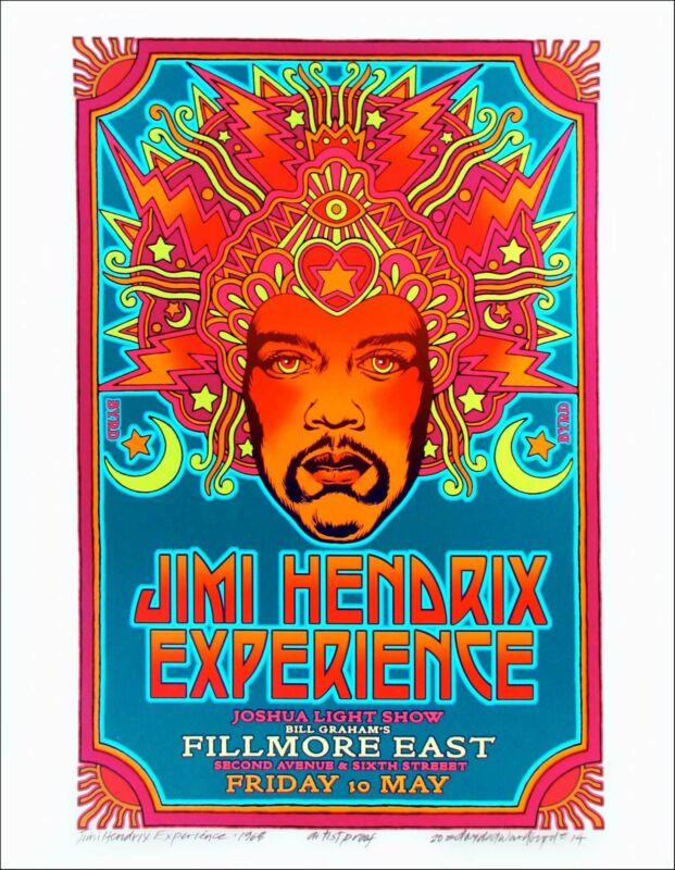 Jimi Hendrix 1968 Fillmore Poster Orig Alternate Design New AE Signed David Byrd