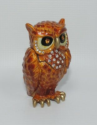 Amber Owl with Jeweled Accents Trinket Box