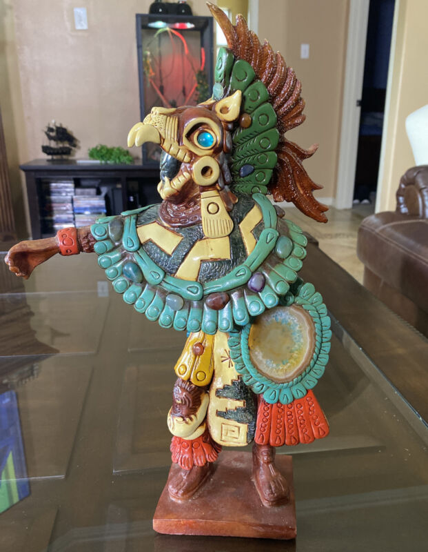 Large Aztec Warrior Wooden Carved Statue Real Stones Very Heavy Beautiful Piece