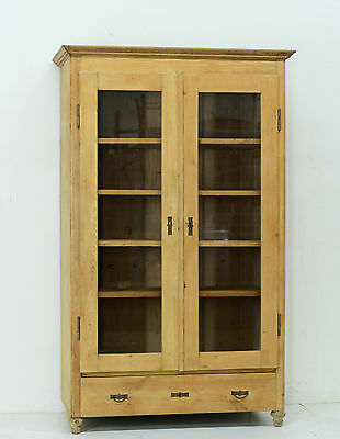 Large Antique Country French Raw Unfinished Pine Cabinet Cupboard
