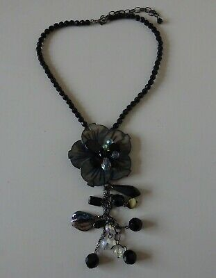 Beautiful Jewellery Choker Necklace -  Black Beads - Blue Black Flower Pendant  for sale  Shipping to South Africa