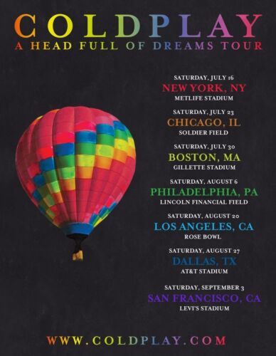 """COLDPLAY """"A HEAD FULL OF DREAMS TOUR"""" 2016 USA CONCERT POSTER - Alt Rock Music"""