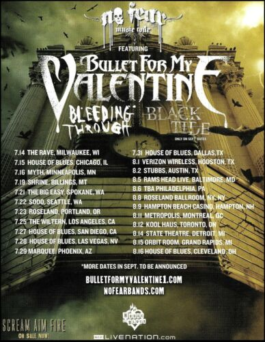 Bullet for My Valentine Bleeding Through Black Tide 2008 No Fear Tour ad print B