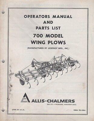 Allis-chalmers Wing Plows Model 700 Operators Parts Manual Tpl-538a 071