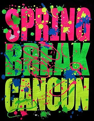 SPRING BREAK CANCUN MEXICO 2017 PAINT SPLATTER BEACH PARTY T-SHIRT BLACK (MED)](Spring Break Party 2017)