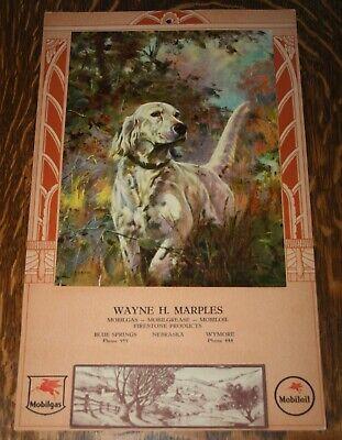 Vintage 1948 Mobilgas Mobiloil Advertising Wall Calendar Embossed Hunting Dog