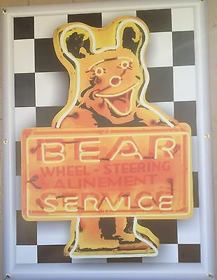 "BEAR SERVICE ""ALINEMENT"" NEON STYLE PRINTED BANNER MURAL SIGN GARAGE ART 3"