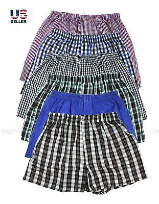 Plaid Woven Boxer Shorts - Lot 3-6 Pack Men's Cotton Boxer Briefs Check Plaid Woven Shorts Brief Underwear