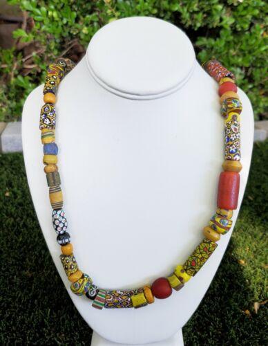 Vintage African Trade Bead Venetian Murano Millefiori Glass Bead Necklace