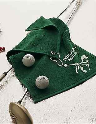 Golftuch BESTICKT mit Namen + stilisiertem Golfer - Golf Handtuch personalisiert