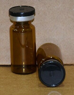 Usp 10 Ml Amber Sterile Vial With Any Color Plain Flip Cap Seal Qty. 5