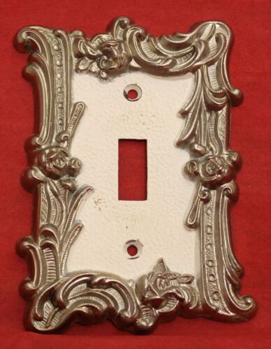 Vintage Provincial French White Gold Floral Metal Light Switch Wall Plate