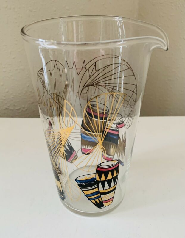 Mid Century Modern GAY FAD Calypso Bongo Cocktail Pitcher MCM Atomic Barware