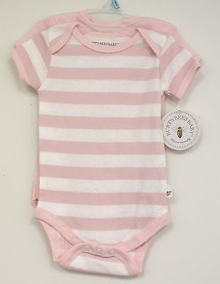 Burts Bees baby Pink White Striped Solid 2 pc Infant Girls Organic New