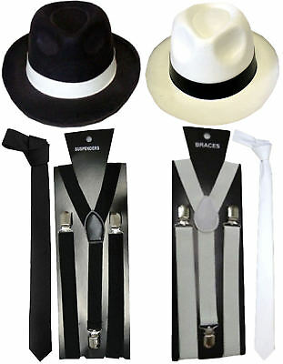 New Mens Boys 1920s Hat Tie Braces Gangster Roaring Pimp Fancy Dress Accessories