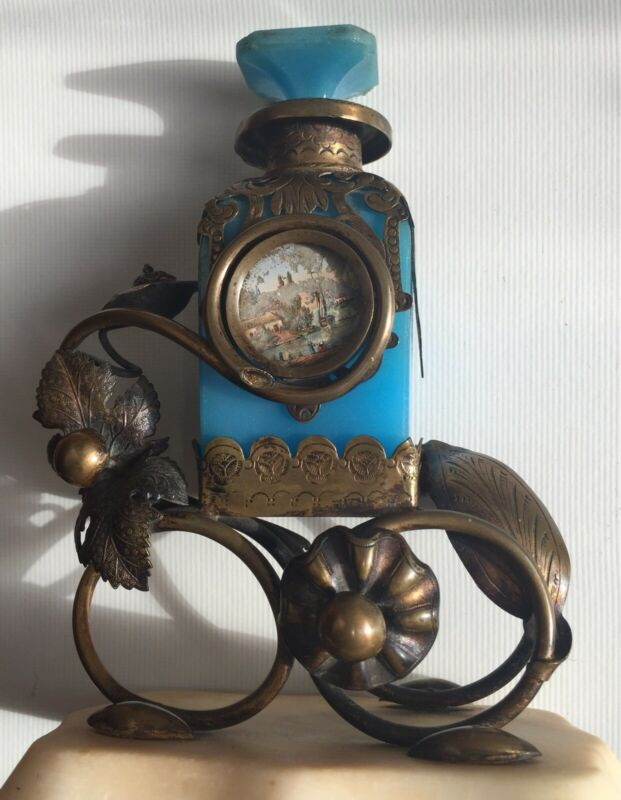 French Blue Opaline Perfume Bottle With Ormulu Filagree
