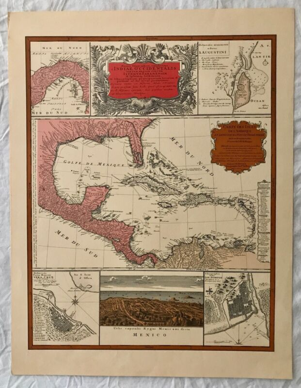 AMAZING VINTAGE ART LITHOGRAPH ANTIQUE HISTORY COLOR MAP GULF OF MEXICO SPANISH
