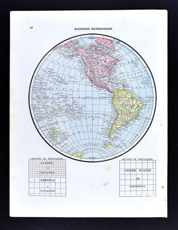 1891 Watson Map - World Western Hemisphere North South America United States