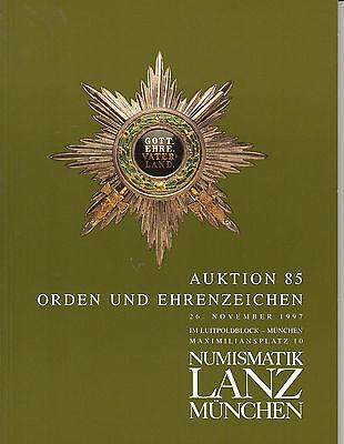 LANZ AUKTION  85 Katalog 1997 Orden Ehrenzeichen Autonom Freimaurer Kappen ~