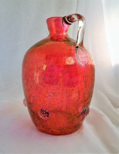 ~ Antique CRANBERRY GLASS JUG Applied PRUNTS & HANDLE 7-8in ~