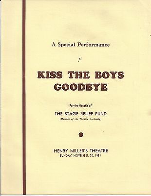 1938 KISS THE BOYS GOODBYE Stage Relief Fund HENRY MILLER'S THEATRE John Root
