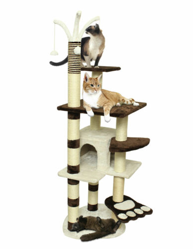 """64"""" Brown White Pet Cat Tree Play Tower Condo Bed House Scratch Post Toy Balls"""