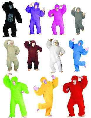 GORILLA APE ADULT MENS COSTUME CHIMPANZEE MONKEY ANIMAL MASCOT BLACK BLUE RED  ()