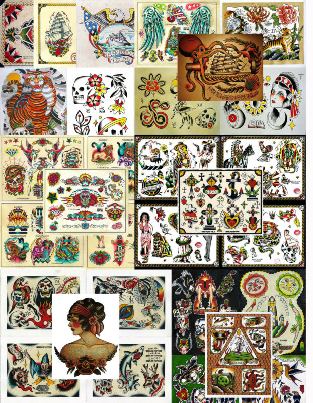 """Vintage Traditional Style Tattoo Flash Collection, Lot, 32 Sheets 11x14"""""""