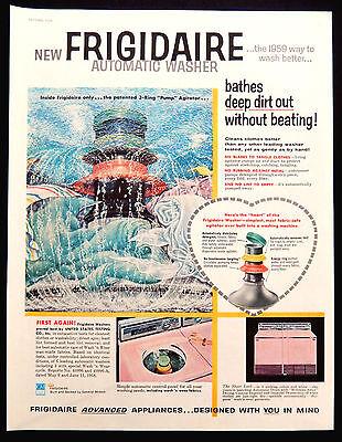 Vintage 1958 Frigidaire Pink washer dryer advertisement print ad art.